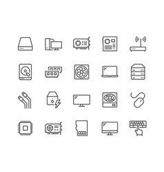 line computer components icons vector image