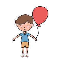 Little boy infant cartoon character with balloon vector