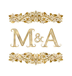 m and a vintage initials logo symbol letters vector image