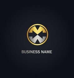 m initial arrow company gold logo vector image