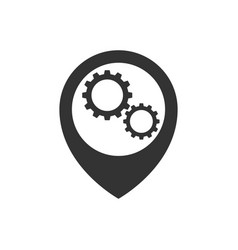 map pointer with gears inside icon vector image