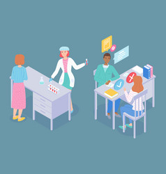 medical characters laboratory assistant doctor vector image