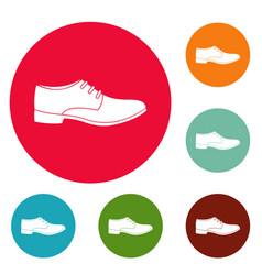 men shoe icons circle set vector image