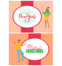 merry christmas poster man and woman carnival hat vector image
