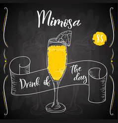 Mimosa cocktail hand drawn drink on white vector
