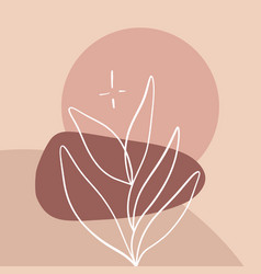 Minimalist abstraction with leaf and geometric vector