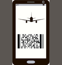 Modern electronic mobile boarding pass icon vector