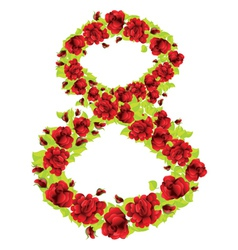 Number 8 of roses vector