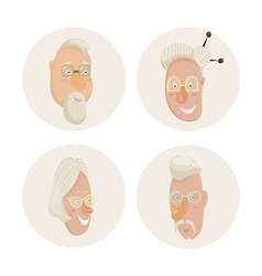 old people faces set cartoon characters vector image vector image