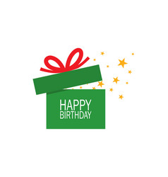 opened green gift box with red ribbon stars and vector image