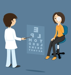 Ophthalmologist checks sight at the woman vector image