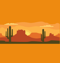 Panorama mountains and sunset sky with cactus vector