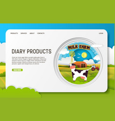 paper cut dairy products landing page vector image
