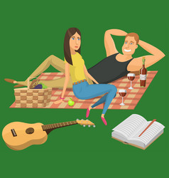 Picnic setting with red wine glasses guitar vector