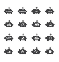 piggy bank icon set money saving vector image