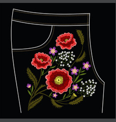 poppy embroidery stitches for jeans vector image