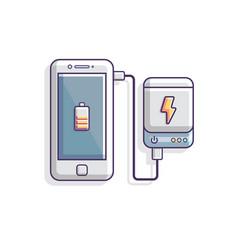 Power bank charging smartphone battery concept vector