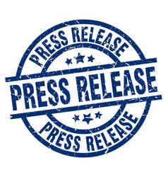 Press release blue round grunge stamp vector