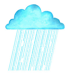 raining image with blue rain cloud in wet day on vector image