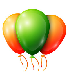 Realistic green orange balloons with ribbons vector