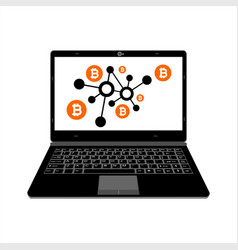 realistic laptop display bitcoin digital assets vector image