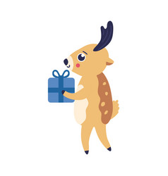 reindeer with present box vector image