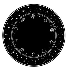 Round ornament esoteric elements and stars vector