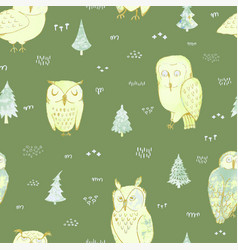 seamless background with owls in forest vector image