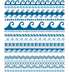 Seamless blue wave patterns vector