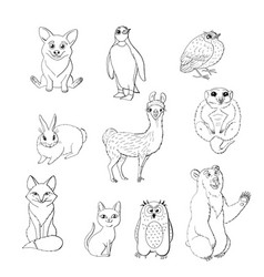 Set cute animals isolated on white background vector