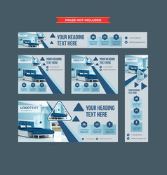 set of promotional web banners in shades of blue vector image