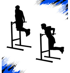 Silhouette a man who is doing dips on bars vector