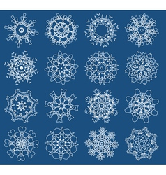 Sixteen snowflakes vector
