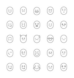 smileys linear icons set vector image