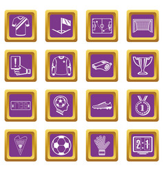 Soccer football icons set purple square vector