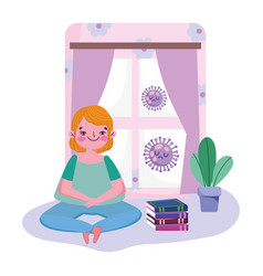 Stay at home young man sitting with books in room vector