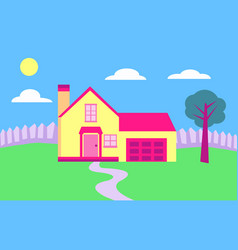 suburban home with white fence on a sunny day vector image