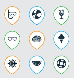 Sun icons set collection conch melon balloon vector