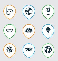 Sun icons set collection of conch melon balloon vector