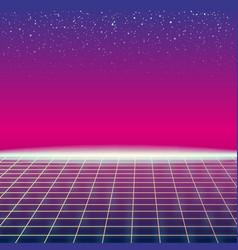 Synthwave retro futuristic landscape with sun and vector