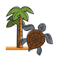 Tall hawaiian palms on sand and huge sea turtle vector