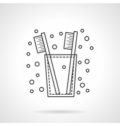 Tooth brush icon flat line design icon vector image