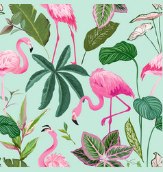 tropical background with flamingo and palm leaves vector image