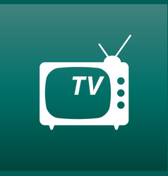 tv icon in flat style on green background vector image