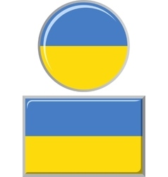 Ukrainian round and square icon flag vector