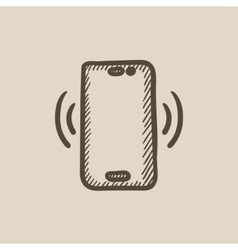 Vibrating phone sketch icon vector