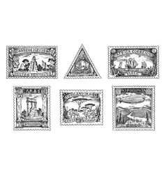 vintage postage stamps set ancient landscapes vector image