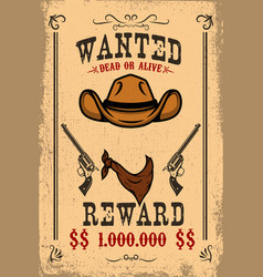 Vintage wanted poster template with old paper vector