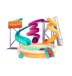 Water park slides and swimming pool vector