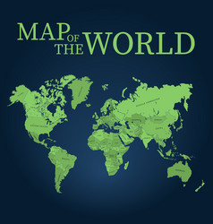World map quality map for cutting or engraving vector